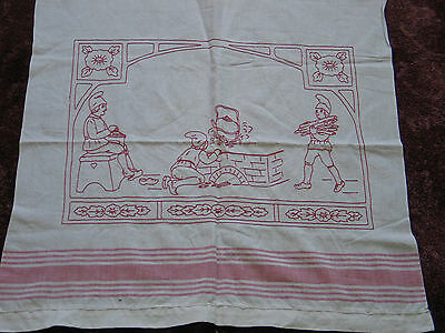 Beautiful Antique German Hand Embroidered Redwork SHOW Towel c1900