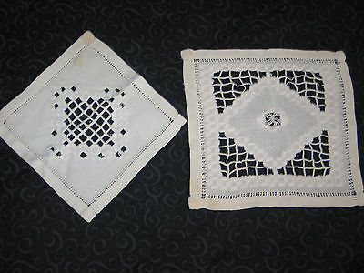 Pair of Antique Norwegian Hand Embroidered Hardanger Lace Table Cloth Doily