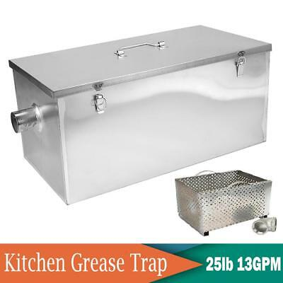 """25LB Kitchen Grease Trap Stainless Steel Interceptor Filter Kit 2"""" Inlet Outlet"""