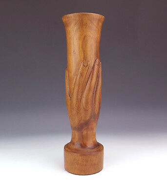 Antique Pitcairn Island Polynesian Carved Wood Hand Of Friendship Vase - Nice!