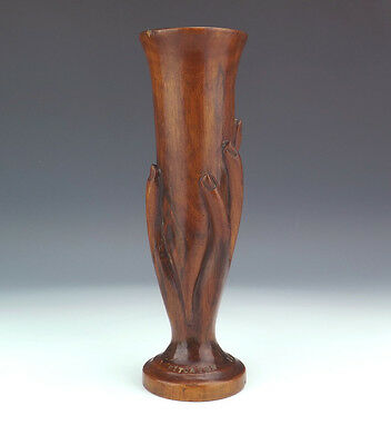 Antique Pitcairn Island - Polynesian Carved Wood Hand Of Friendship Vase