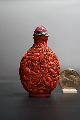 Fine Chinese Antique Carved Sea Dragon Red Glass Snuff Bottle Mark Qianlong