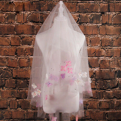 Pink 2T Finger Tip Bridal Accessories Wedding Veils Lace Appliques Spring Pearls