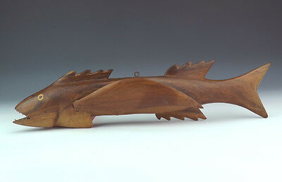Antique Pitcairn Islands - Polynesian Carved Wood Fish Wall Plaque - Unusual!