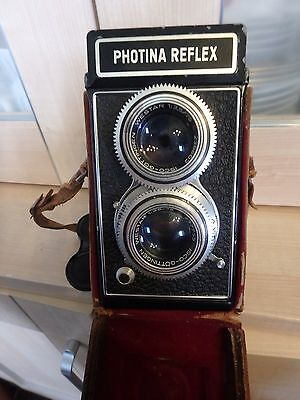 Vintage Rare Photina Reflex Tlr Camera With A Twin Lens And In Original Case