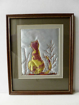 Lovely Framed Embroidered Quilted Cat Picture by Lynn Adgar 2012