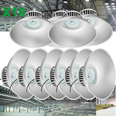 10x 100W LED High Bay Light Bright White Factory Warehouse Industry Lighting