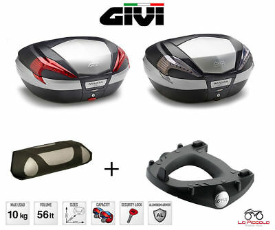 GIVI BAULETTO VALIGIA V56 N NT 56LT + STAFFE SR134 PIAGGIO Mp3 Business 500 2013