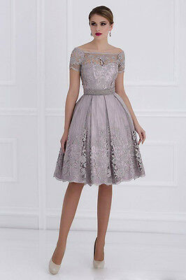 2017 Summer Sleeve Mother of the Bride Dresses Formal Gowns Silver Gray Size 18