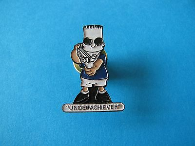 "Bart Simpson Character pin badge. Good Condition. "" Underachiever """