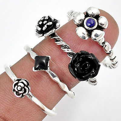 Black onyx lapis 925 sterling silver stackable flower 4 band ring size 8.5 a5115
