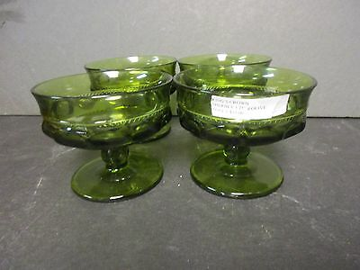 """Four Indiana Glass """"Kings crown"""" green Sherbets"""
