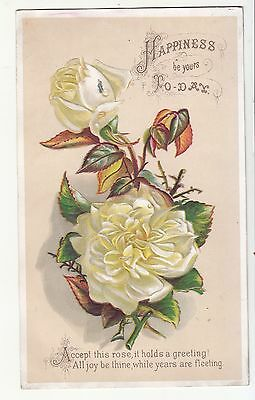 Happiness Be Yours Today White Roses Embossed Victorian Card c1880s