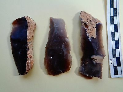 3 British Mesolithic Flint Blades with retouching  -Recent  Dorset Find -Look!