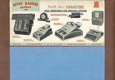 OFFICE MACHINE & SUPPLY COMPANY, QUEBEC: Scarce CANADIAN Ink Blotter (1940)