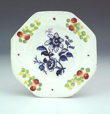Antique Staffordshire Pottery - Flower Decorated Relief Moulded Miniature Plate