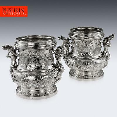 ANTIQUE 19thC GERMAN SOLID SILVER EXCEPTIONAL MEISSONNIER WINE COOLERS c.1890