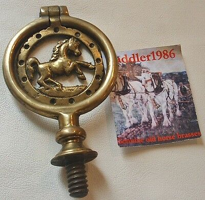*antique Horse Brass Swinger ~ Double Sided Horse ~ Pierced Border*