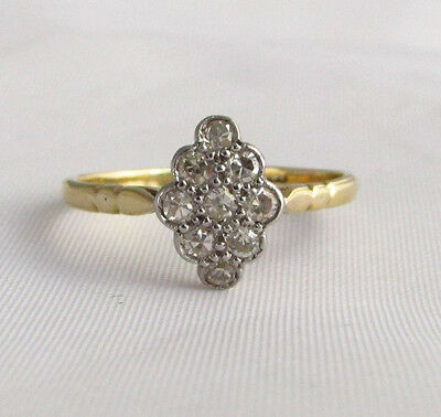 Old vintage 18ct gold & platinum diamond marquise ring size O circa 1930s