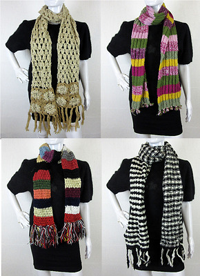 50 x WOMEN'S USED MIXED CHUNKY KNIT WINTER WOOL SCARVES WHOLESALE JOBLOT BULK