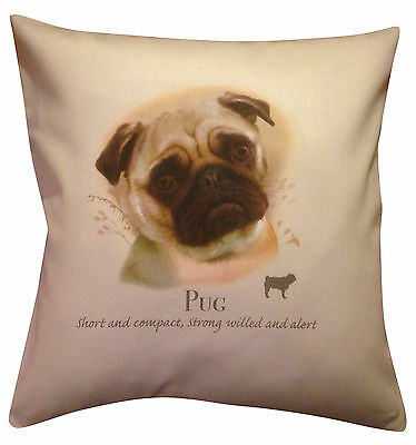 Pug HR Cotton Cushion Cover - Choose Cream or White Cover - Gift Item