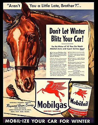 "Original 1942 ""mobiloil-Mobilgas"" Red Horse Head Winter Robin Bird Art Print Ad"