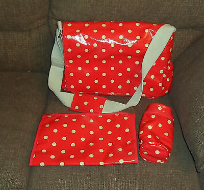 CATH KIDSTON Baby Changing Bag, Mat, Bottle Holder, Red Spotty Pattern