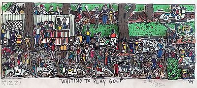 James Rizzi » Waiting To Play Golf «  Seltenes 3D  aus 1989