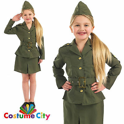 Childs Girls World War 2 Army Girl WW2 Hisorical Fancy Dress Party Costume