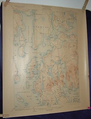 1910  Mt Desert  & Area US Geological Survey Topographical  Map
