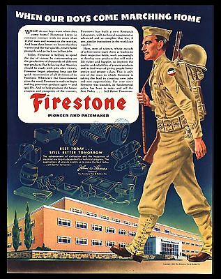 "Original 1945 ""firestone"" American Soldier Marching Home World War Ii Print Ad"