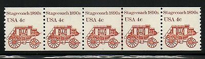 US 1898A Pl #3 4¢ Stagecoach PNC 5 Plate Number Coil Stamp Strip - Crazing lines