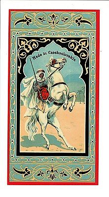 1 Old 1920s Czechoslovakia Fez Hat Box Label Horse & Rider size 247x122mm