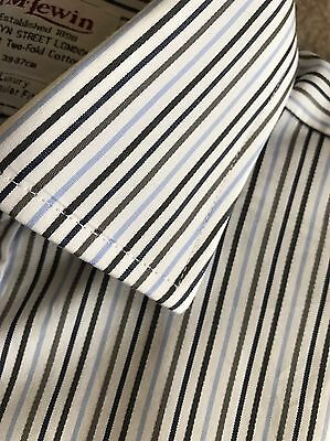 Crisp Blue & White Multi Striped Double Cuff Shirt T M Lewin Size 15.5""