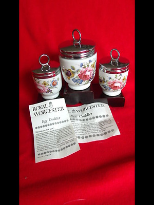 3 Royal Worcester Egg Coddlers Bournemouth Pattern 1 Large 2 Small With Leaflet