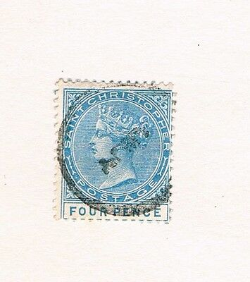 Saint Christpher St. Kitts Four Pence 1882/84 used Mi8 Queen Victoria cv 30€