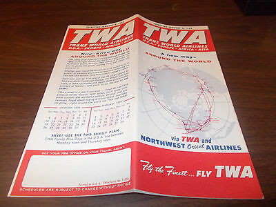1958 TWA Airline Timetable / January 8, 1958 / Excellent Condition !!