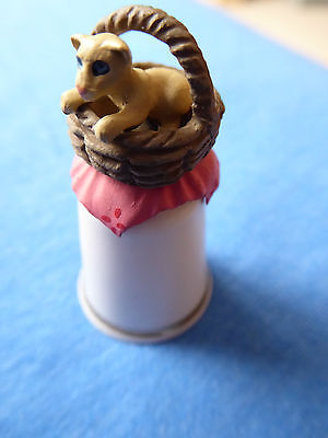 Pewter and Porcelain Thimble Kittens in Basket  ©HC Sterling Classics Excellent