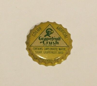 Vintage Grapefruit Crush cork lined soda bottle cap w/ Crushy