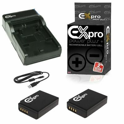2x Ex-Pro Battery +USB charger Canon LP-E10 EOS 1100D 1200D Rebel T3 Kiss X50