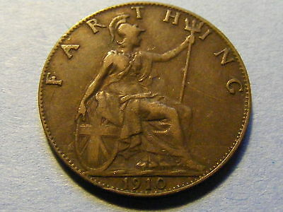 1910 Edward VII Farthing Coin - Very Nice Condition