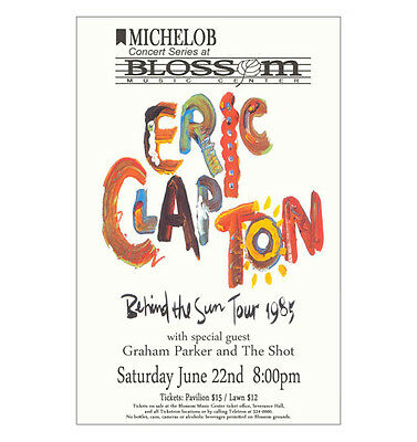 Eric Clapton 1985 Cleveland Concert Poster
