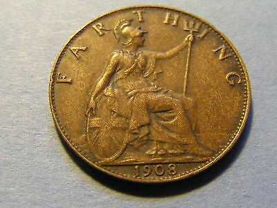 1908 Edward VII Farthing Coin - Very Nice Condition