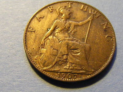 1907 Edward VII Farthing Coin - Very Nice Condition