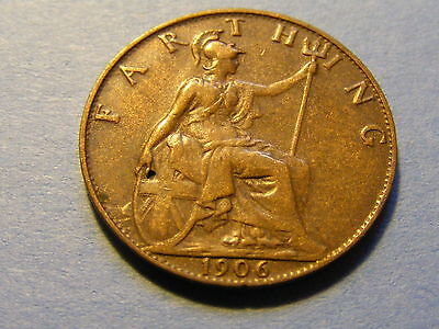 1906 Edward VII Farthing Coin - Very Nice Condition