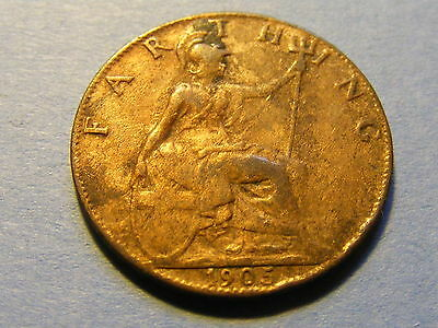 1905 Edward VII Farthing Coin - Very Nice Condition
