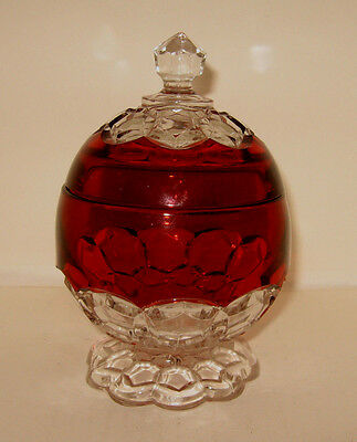 EAPG Ruby Flash & Clear Glass Footed Candy Dish Raised Octagon Pattern