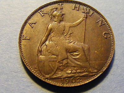1902 Edward VII Farthing Coin - Very Nice Condition