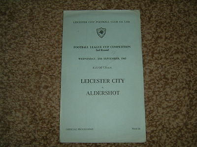 1963-64 League Cup 2nd round Leicester City (winners) v Aldershot (4 page item)