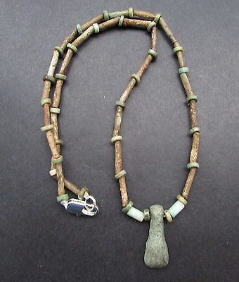 NILE  Ancient Egyptian Faience Foot Amulet Mummy Bead Necklace ca 600 BC